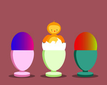 Easter Vector Of A Baby Chicke...