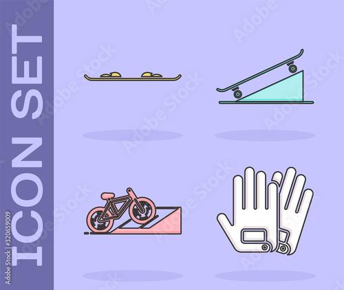 Set Gloves, Snowboard, Bicycle on street ramp and Skateboard on street ramp icon Fotobehang