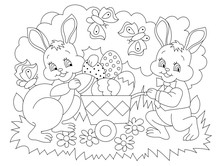 Black And White Page For Baby Coloring Book. Illustration Of Cute Rabbits Bringing Easter Eggs. Printable Template For Kids. Worksheet For Children And Adults. Hand-drawn Vector Image.
