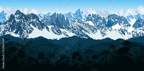vector seamless Andes mountains with  rainforest Jungle forest background Canvas Print