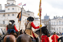 Mounted Members Of The English Civil War Society In Historical Costume, Lead The Parade To Commemorate The Execution Of King Charles I