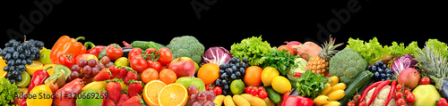 Panoramic photo fruits and vegetables isolated on black Fototapeta