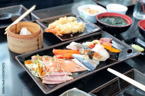 Fototapeta Japanese food sasimi, sushi and tempura obraz
