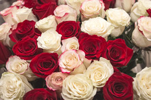 Bouquet Of Red And White Roses.
