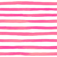 Beautiful Seamless Pattern With Pink Watercolor Stripes. Hand Painted Brush Strokes, Striped Background. Vector Illustration