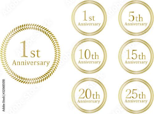 Photo Anniversary Emblem 月桂冠 金色