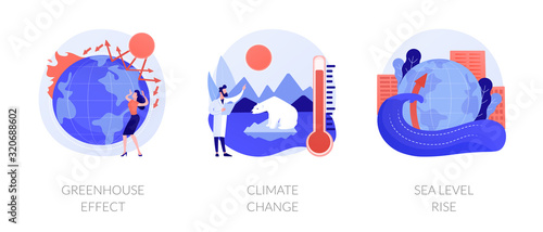 Greenhouse effect, climate change, sea level rise. Global warming effect. Ultraviolet radiation, food contamination, acid rain metaphors. Vector isolated concept metaphor illustrations. - 320688602