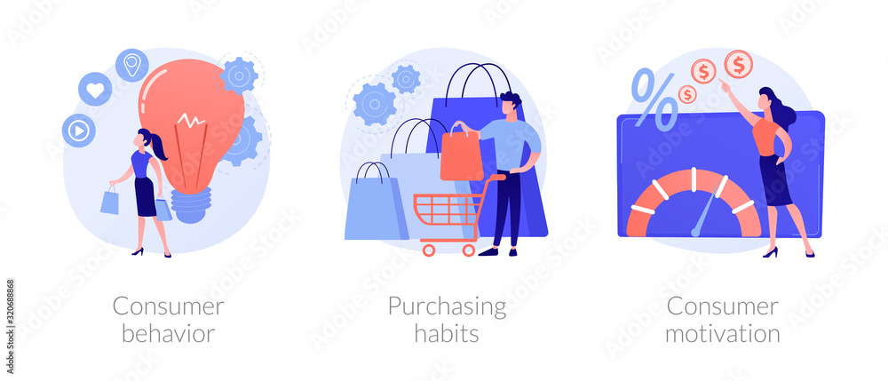 Fototapeta Buyer persona and purchase decision process. Customer buying, shopping habits. Consumer behavior, purchasing habits, consumer motivation metaphors. Vector isolated concept metaphor illustrations.