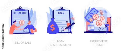 Fotografía Financial agreement signing flat icons set