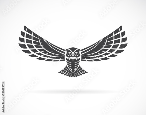 Vector of an owl design on a white background,. Wild Animals. Bird logo or icon. Easy editable layered vector illustration. Fototapete