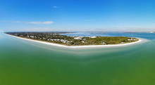 Aerial Landscape View Of The Lighthouse And Lighthouse Beach On Sanibel Island In Lee County, Florida, United States