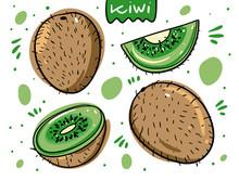 Kiwi Fruit Set. Hand Drawn Vector Illustration In Cartoon Style. Isolated On White Background.