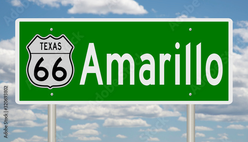 Rendering of a green 3d highway sign for Amarillo Texas on Route 66 Wallpaper Mural