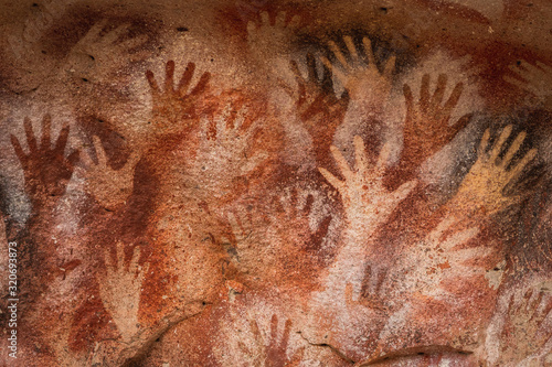 Ancient Cave Paintings of Hands at Cueva de Las Manos in Santa Cruz Province, Patagonia, Argentina