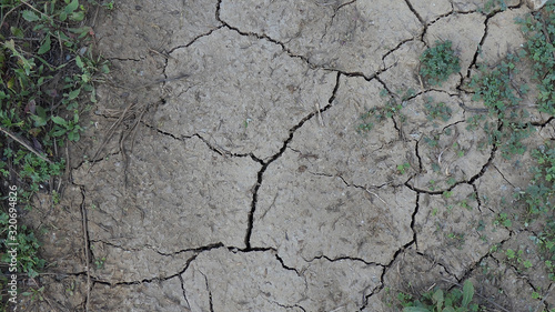 Photo Cracked dry earth on rural path