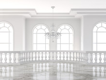 Empty Luxury Classical Mazzanine Floor 3d Render,There Are White Marble Floor Decorated With Ceramic Railing And Glass Chandelier.