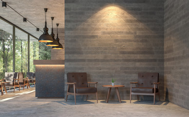 Loft style coffee shop with nature view 3d render,There are polished concrete floors, wood plank stamped concrete walls, decorate with brown leather furniture,Large window overlooking green garden.