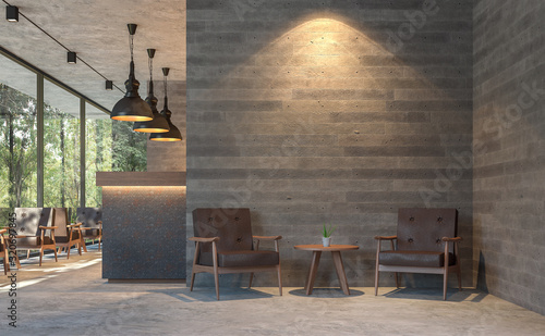 Fototapeta Loft style coffee shop with nature view 3d render,There are polished concrete floors, wood plank stamped concrete walls, decorate with  brown leather furniture,Large window overlooking green garden. obraz