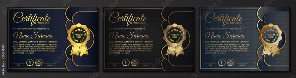 Fototapeta premium golden black certificate template design.