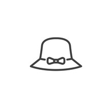 Ladies Hat Line Icon. Linear S...