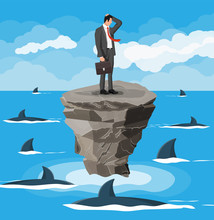 Worried Businessman On Tiny Island In Sea And Surrounded By Sharks. Desperate Business Man Against Fin. Obstacle On Work, Financial Crisis. Risk Management Challenge. Flat Vector Illustration