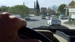 Driver on residential road POV.