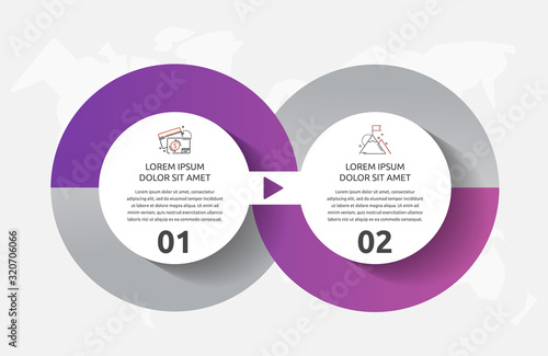 Fototapeta Vector template circle infographics. Business concept with 2 options and parts. Two steps for diagrams, flowchart, timeline obraz