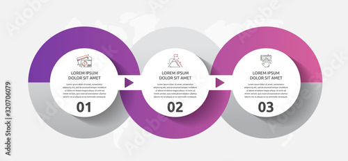 Obraz Vector template circle infographics. Business concept with 3 options and parts. Three steps for content, flowchart, timeline, levels - fototapety do salonu