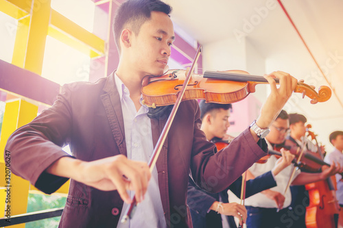 Canvastavla Musicians are practicing the violin playing orchestra band with the melodiousness