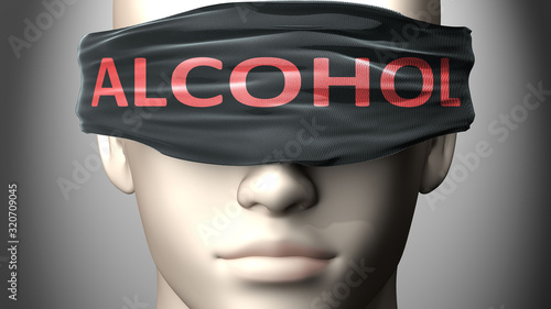 Fototapeta Alcohol can make things harder to see or makes us blind to the reality - pictured as word Alcohol on a blindfold to symbolize denial and that Alcohol can cloud perception, 3d illustration obraz