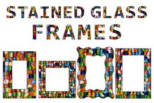 Set Of Stained Glass Frames For Your Design. Good For Social Media And Blog.
