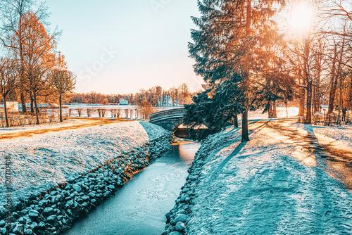 Bridge over the Fish Channel in Catherine Park, Tsarskoye Selo (Pushkin) Canvas Print