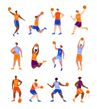 Basketball Players With Ball - Set Of Isolated People Characters, African American And White Men Playing, Guys Jumping With Ball, Muscular Basketball Players - Isolated Flat Vector For Poster, Merch