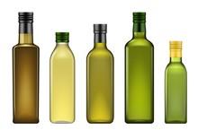 Olive Oil Bottles Realistic 3d...