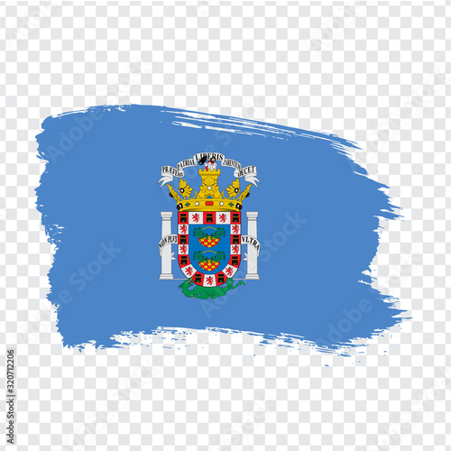 Flag of Melilla brush strokes. Flag Melilla of Spain on transparent background for your web site design, logo, app, UI. Kingdom of Spain. Stock vector. EPS10.