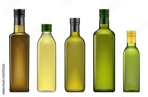 Papel de parede Olive oil bottles realistic 3d template mockup, vegetable oils blank glass package