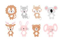 Set Of Simple Cute Animals For Invitation, Party, Nursery, Baby Shower. Bear, Fox, Wolf, Koala, Lion, Elephant, Bunny, Deer. Flat Cartoon Vector Illustration.