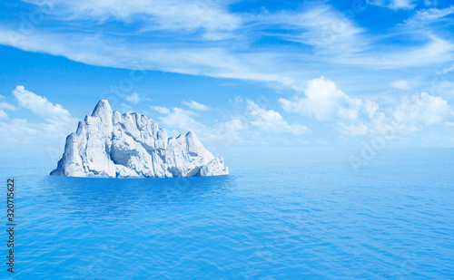 fototapeta na szkło Iceberg in ocean. 3d illustration.