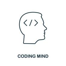Coding Mind Line Icon. Thin De...