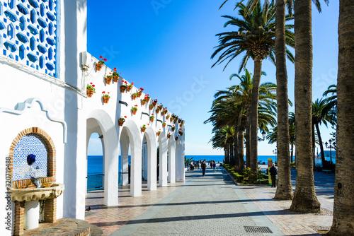 Square of Balcon de Europa in Nerja, Malaga, Spain