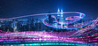 canvas print picture - Night city with abstract gradient blue and red glowing light trail surround the city ,Smart city big data connection technology concept .
