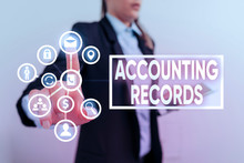 Writing Note Showing Accounting Records. Business Concept For Manual Or Computerized Records Of Assets And Liabilities