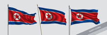 Set Of North Korea Waving Flag On Isolated Background Vector Illustration