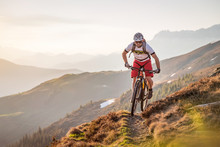Male Mountainbiker Riding On A...