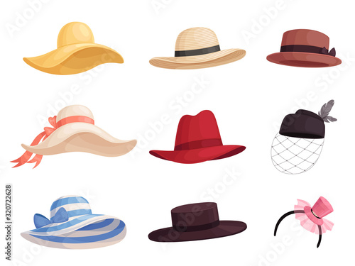 Set of women's fashionable hats of different colors and styles in retro style Canvas Print
