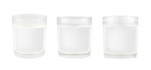 Three White Candles In Transparent Glass With White Blank Label On Isolated, Mock Up For Branding Identity, Advertising, Presentation, Design  Packing.