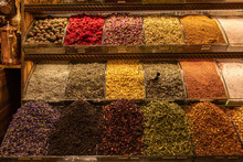 Middle East Turkish Spice Market At Istanbul, Turkey