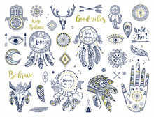Ethnic Boho Set With Hand, Moon, Dream Catchers, Hamsa, Headdress, Feathers, Arrows, Eye And Other Bohemian Elements. Vector Illustration. Perfect Fpr Logos, Banners, Posters, Cards Etc