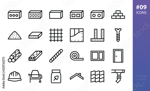 Building materials icons set Fotobehang