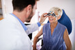 Ophthalmology concept. Patient eye vision examination in ophthalmological clinic
